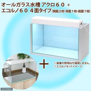 オールガラス水槽 アクロ60 + エコルノ60 4面タイプ 60cm水槽用(側面2枚・背面1枚・底面1枚) お一人様1点限り 関東当日便|chanet