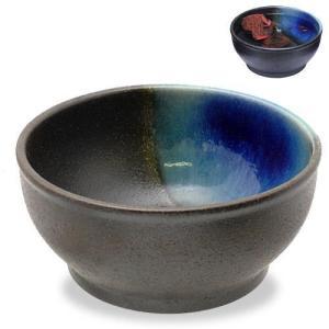 カミハタ 信楽焼 めだか鉢 ブラウン/ブルー アクセント