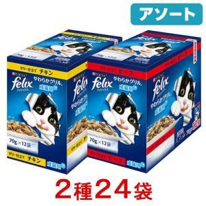 アソート フィリックス パウチ やわらかグリル 成猫用 ゼリー仕立て 70g チキン ビーフ 2種各...