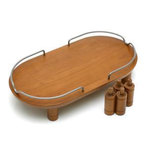 リッチェル ペット用 木製テーブル ダブル ブラウン 犬用・猫用食器台 トレー