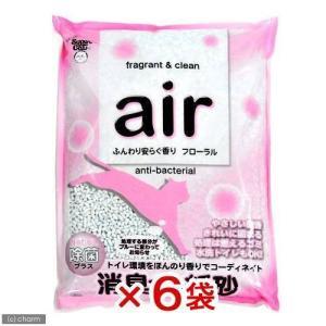 箱売り スーパーキャット air消臭する紙砂 フローラル 6L お買得6袋 個口ごとに別途送料 猫砂 紙 関東当日便