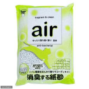 お一人様6点限り スーパーキャット air消臭する紙砂 森林 6L 猫砂 紙 固まる 流せる 燃やせる 関東当日便