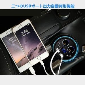 SAST シガーソケット カーチャージャー 12V-24V対応 USB 2ポート 車載充電器 iPhoneやiPadなど同時充電可能(ブルー) 【並行輸入品】|chaoyiliu|02