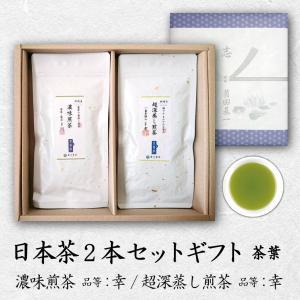 弔事/日本茶2本セットギフト 茶葉  川根茶 品等:川・超深蒸し煎茶 品等:幸 各100g  のし無料|chappaya-hamamatsu