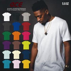 無地 半袖 Tシャツ 5.6 oz オンス ACE プリント オリジナル Tシャツ メンズ レディース  S M L LL|chara-basket
