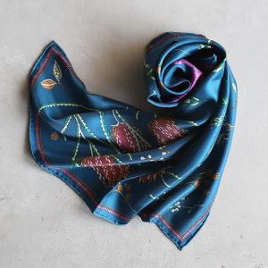 マニプリ スカーフ manipuri SILK SCARF ネイティブフラワー柄 Native Flower 65×65 ブルー BLUE 2020春夏新作|charger