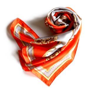 マニプリ スカーフ manipuri SILK SCARF SADDLE ORANGE 65×65 シルクスカーフ サドル柄 オレンジ 2019秋冬新作|charger