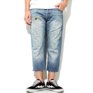 SALE 50%OFF アトリエアンドリペアーズ リーバイス デニム ATELIER&REPAIRS  LEVI'S 501 w/out Gusset -22inch クロップド リメイク BLUE ブルー 2018秋冬新作|charger