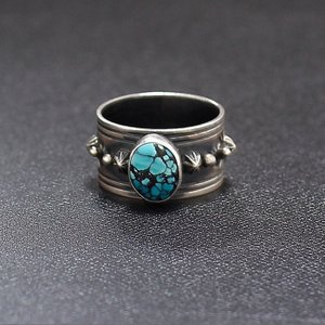 インディアンジュエリー   ターコイズ Stone Ring リング  ナバホ  Gene Natan Silver|charger