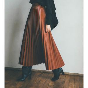 CLANE スカート クラネ アコーディオンプリーツレザースカート ACCORDION PLEAT LEATHER SKIRT ブラウン BROWN 2020秋冬新作 charger