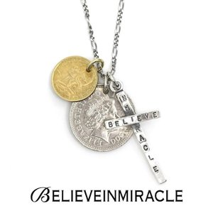 BELIEVEINMIRACLE,ビリーブインミラクル,2COIN CROSS NECKLACE,ツーコインクロスネックレス,Silver925,Brass,通販取り扱い|charger