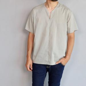 wjk シャツ ダブルジェイケイ Vネック スリット シャツ ベージュ V-neck shirt T beige 2019春夏新作 charger