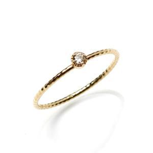 Maxi マキシ ハワイアンジュエリー シンプル ダイヤモンド リング カットワーヤー K10イエローゴールド ダイヤモンド レディース|charger