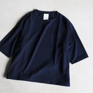 クロ Tシャツ KURO パラレルドヤーン S/S ポケットTシャツ PARALLELED YARN HIGH GAUGE S/S POCKET BIG TEE ネイビー NAVY 2021春夏新作|charger