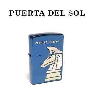 PUERTA DEL SOL プエルタデルソル zippo ブルーチタン シェル チェスナイト メンズ|charger