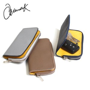 キーケース 当店別注 ANNAK ソファーレザー ラウンドジップポケット付きキーケース イエロー 3色展開|charger
