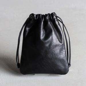 ANNAK バッグ アナック レザー手持ち巾着バッグ LEATHER DRAWSTRING BAG ブラック BLACK|charger