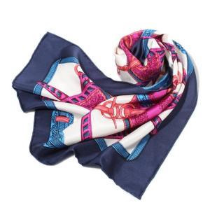 manipuri マニプリ 2018春夏新作 SILK SCARF BELT BLUE 65×65 シルクスカーフ ベルト柄 ブルー|charger