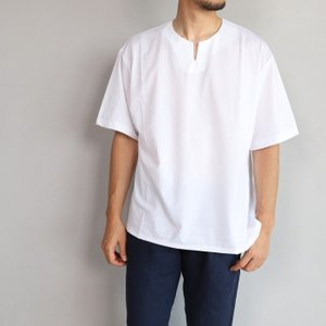 エディットクロージング Tシャツ EDIT CLOTHING シアサッカーストレッチラウンドVネックT ホワイト Seersucker stretch slit neck tee white 2019春夏新作|charger