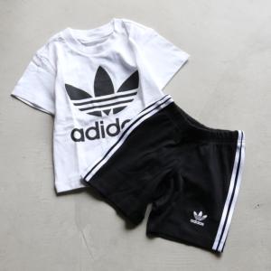 アディダスオリジナルス キッズ adidas originals トレフォイルショーツ・Tシャツセット Trefoil Shorts Tee Set ブラック×ホワイト 2021春夏新作 charger