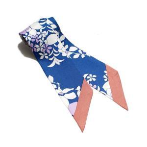 manipuri マニプリ 2017秋冬新作 SILK NARROW SCARF FLOWER GARDEN BLUE 5×85 シルクナロースカーフ フラワー ガーデン柄 ブルー|charger