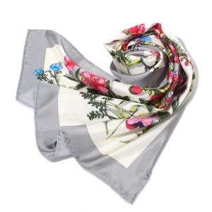 manipuri マニプリ 2018春夏新作 SILK SCARF FLOWER GREY 65×65 シルクスカーフ 花柄 グレー|charger