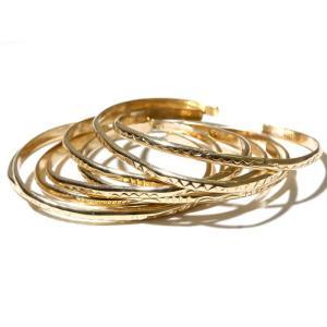 INDIAN Jewelry インディアンジュエリー   GOLD BANGLE ゴールドバングル  0.3cm ナローバングル ナバホ 12Kゴールドフィルド メンズ レディース|charger