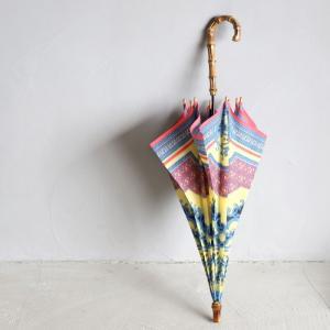 マニプリ 傘 manipuri レリーフ柄 イエロー STICK-Umbrella relief yellow 晴雨兼用 雨傘 日傘 2019春夏新作|charger