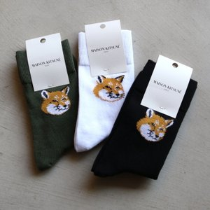 メゾンキツネ 靴下 再入荷 MAISON KITSUNE フォックスソックス FOX SOCKS 4色展開 メンズ・レディース charger