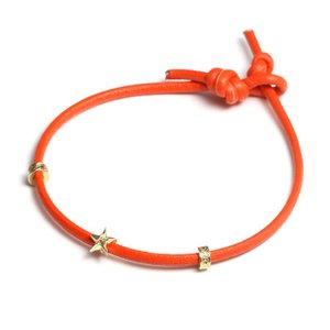 Maxi マキシ ハワイアンジュエリー レザーコード ブレスレット スター  K10イエローゴールド ORANGE オレンジ メンズ レディース|charger