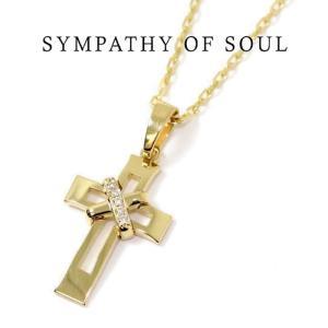SYMPATHY OF SOUL シンパシーオブソウル Tied Cross Necklace  K18 Yellow Gold タイドクロスネックレス K18イエローゴールド|charger