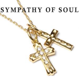 シンパシーオブソウル ネックレス SYMPATHY OF SOUL  Double Cross Necklace K18YG Diamond ダブルクロス ネックレス K18YG ダイヤ クリスマスモデル SENSE掲載|charger