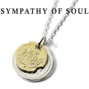 シンパシーオブソウル ネックレス SYMPATHY OF SOUL B.C Coin Neckalace Good Luck Hope Sun Silver K18Yellow Gold B.C コイン グッドラック シルバー K18YG|charger