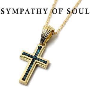 シンパシーオブソウル ネックレス SYMPATHY OF SOUL Small Gravity Cross Inlay Necklace K18YG スモールグラビティ クロス インレイ ネックレス K18YG|charger