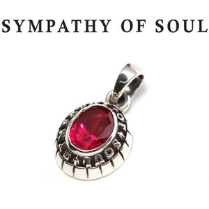 SYMPATHY OF SOUL シンパシーオブソウル Small College Pendant Synthetic Ruby Silver スモール カレッジ ペンダント シンセティック ルビー シルバー|charger