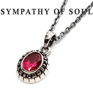 SYMPATHY OF SOUL シンパシーオブソウル Small College Pendant Synthetic Ruby Chain 1.6mm スモール カレッジ ネックレス シンセティック ルビー シルバー|charger