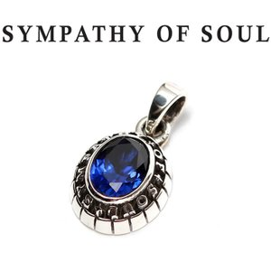 SYMPATHY OF SOUL シンパシーオブソウル Small College Pendant Synthetic Sapphire Silver スモール カレッジ ペンダント シンセティック サファイア シルバー|charger