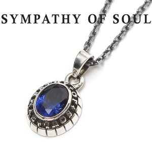 SYMPATHY OF SOUL シンパシーオブソウル Small College Pendant Synthetic Sapphire Chain 1.6mm カレッジネックレス シンセティックサファイア シルバー|charger