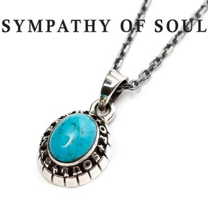 SYMPATHY OF SOUL シンパシーオブソウル Small College Pendant Turquoise Silver × Chain 1.6mm スモール カレッジ ネックレス ターコイズ シルバー|charger