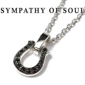 シンパシーオブソウル ネックレス SYMPATHY OF SOUL ホースシューアミュレット ブラック ジルコニア セット Horseshoe Amulet Black CZ Square Chain 1.6mm|charger