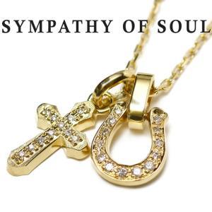 シンパシーオブソウル ネックレス  ホースシュー クロス K18 ゴールド ダイヤ SYMPATHY OF SOUL K18YG Diamond Horseshoe × Cross × Square Chain 1.3mm|charger