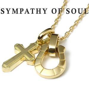 シンパシーオブソウル ネックレス ホースシュー クロス K18 ゴールド SYMPATHY OF SOUL K18YG Horseshoe × Cross × Square Chain 1.3mm|charger