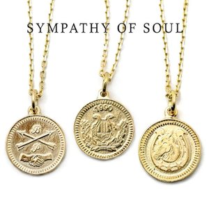 SYMPATHY OF SOUL ,シンパシーオブソウル ,Medium Coin K18YG 3種類, ミディアムK18ゴールド コイン 1.3mmチェーンセット Friendship,Ever Fortune,Good Luck|charger