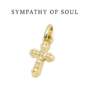 SYMPATHY OF SOUL  シンパシーオブソウル  Smooth Cross Pendant K18YG Diamond スムースクロス ペンダント K18イエローゴールド ダイヤモンド|charger