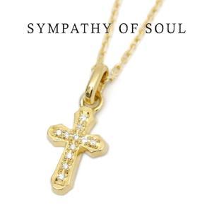 SYMPATHY OF SOUL  シンパシーオブソウル  Smooth Cross K18YG Diamond Necklace スムースクロス 1.3mmチェーン ネックレス  K18イエローゴールド ダイヤモンド|charger