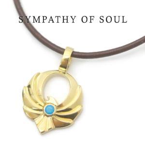 SYMPATHY OF SOUL 別注 Symbolic Eagle Pendant Small K18 Gold coating Turquoise シンボリックイーグルペンダント スモール レザーコードセット ターコイズ|charger