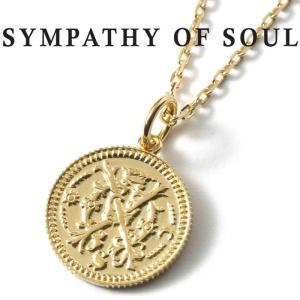 シンパシーオブソウル ネックレス SYMPATHY OF SOUL Medium Bless Coin  K18YG × Chain 1.3mm 無限 ミディアム ブレス コイン チャーム  K18 チェーンセット|charger