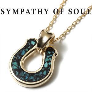 シンパシーオブソウル ネックレス SYMPATHY OF SOUL Horseshoe Inlay Pendant K10YG Turquoise × Chain 1.3mm ホースシュー インレイ チェーンセット|charger