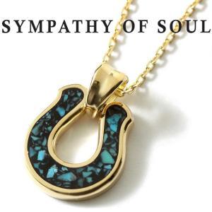 シンパシーオブソウル ネックレス SYMPATHY OF SOUL Horseshoe Inlay Pendant K18YG Turquoise × Chain 1.3mm ホースシュー インレイ チェーンセット|charger