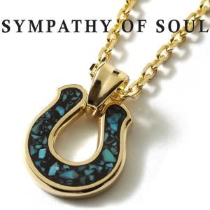 シンパシーオブソウル ネックレス SYMPATHY OF SOUL Horseshoe Inlay Pendant K18YG Turquoise × Chain 2.3mm ホースシュー インレイ チェーンセット|charger